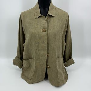 Flax Brown Linen Blazer Jacket